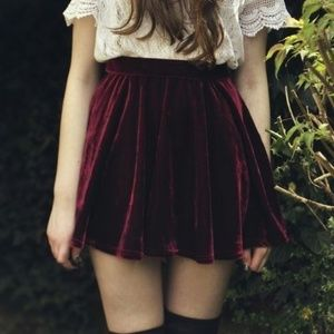 Anthropologie Burgundy Velvet Skater Skirt Size S